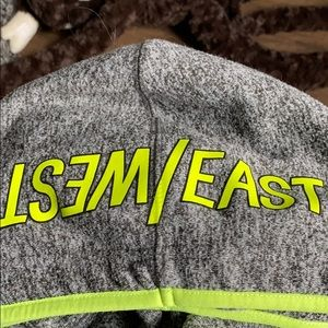 Gray and green East/west hoodie